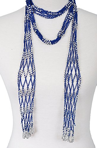 Fishnet Necklace - Fishnet Beaded Scarf , summer Belt , infinity scarf, necklace (BLY01-RBLU)