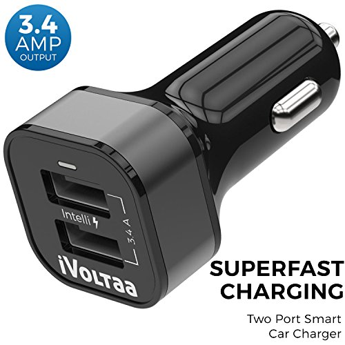 iVoltaa 3.4A Dual Port Car Charger   Black