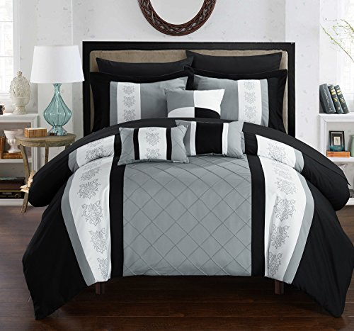 Chic Home Clayton 8 Piece Comforter Set Pintuck Pieced Block Embroidery Bed in a Bag with Sheet Set, Twin Black (Embroidery Linen Flowers)