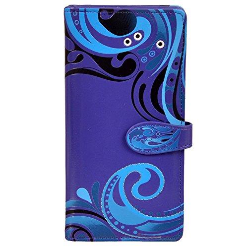 Shag Wear Women's Large Zipper Wallet Wave Pattern Purple