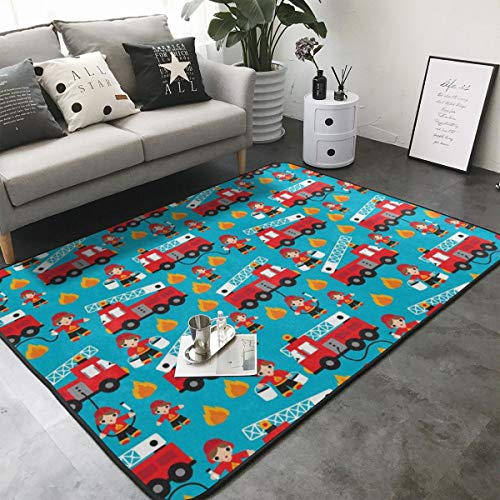 ROCKSKY Fire Truck and Hero Boys Car Kitchen Rugs Memory Foam Floor Pad Rugs with Anti-Slip Rubber Backing, Fast Dry Bath Mat Nursery Rugs Home Decor Comfort Shaggy Rugs - 80 x 58 Inch