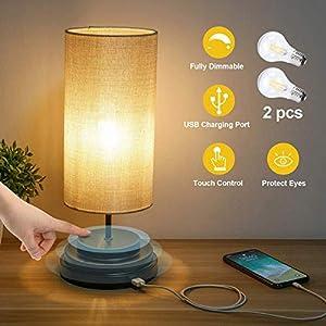 Kohree Lampe de chevet USB, E27 Lampe de Table Dimmable avec Port de Charge USB, Lampe de Chevet Moderne pour Chambre…