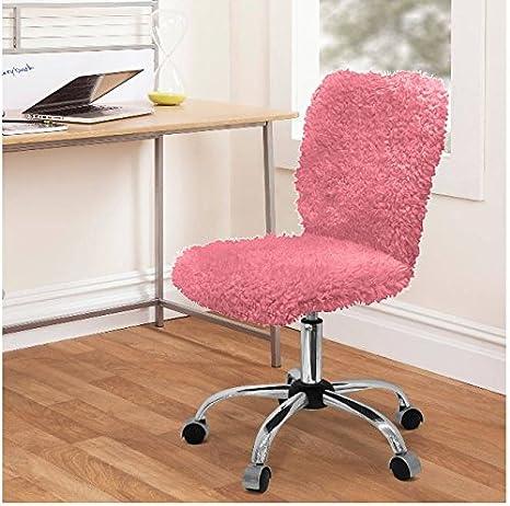 Strange Urban Shop Faux Fur Task Chair Pink Machost Co Dining Chair Design Ideas Machostcouk