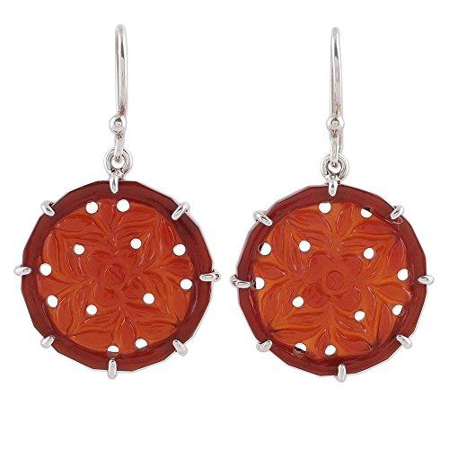 NOVICA Carnelian .925 Sterling Silver Dangle Earrings, 'Floral - Floral Earrings Carnelian