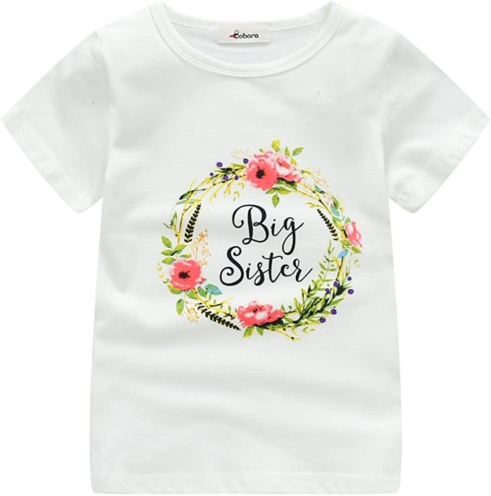 BOBORA Body Mamelucos de Manga Corta para Niñas Bebés, Camiseta de Manga Corta para Niñas, Hermanas Haciendo Juego con la Ropa