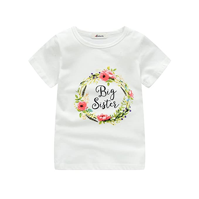 60ae4da9af5 Image Unavailable. Image not available for. Color  BAOBAOLAI Newborn Baby  Girl Romper Top White Shirt Little Sister   Big ...
