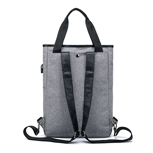 leisure Couple models with USB charging bag dual shoulder shoulder bag handbag anti-theft package gray 66yqM8Uah