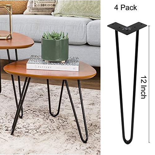 WINSOON Industrial Iron Hairpin Table Legs 12 Inch Set of 4 Pack Metal Bench Legs for Furniture feet Wooden Desk Legs Hair Pin Design (12 Inch 2-Rod Black) (Iron Rod Table)