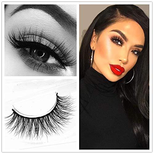 Miss Kiss Brand Eye Lash Mink Hair 3D Lashes Natural Style Makeup Strip Eyelashes 100% Siberian Fur Fake Eyelashes Hand-made False Eyelashes 1 Pair Package Case ()