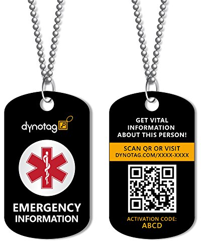 Dynotag Web/GPS Enabled QR Smart Military Style Medical/Emergency Info Deluxe Steel Pendant and - Steel Access Pendant