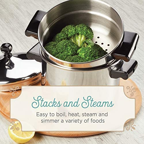 51gbu RS7sL. AC Farberware Classic Series Sauce Pot/Saucepot with Steamer Insert, 3 Quart, Silver    Sauce it, boil it, steam it, and simmer it with the versatile Farberware Classic Stack 'N' Steam Stainless Steel Saucepot and Steamer. From lobster pot to soup pot, this multipurpose cookware combo can be used with or without the steamer insert, and boasts a full cap base featuring a thick aluminum core surrounded by stainless steel for rapid, even heating on any stovetop, including induction. Heavy-duty stainless steel is polished to a mirror finish for a classic touch and the stacking steamer pot is dishwasher safe and oven safe to 350°F.