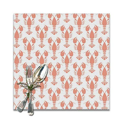 BUN Placemats Square Set of 6 for Dining Room Kitchen Table Decor, Orange Lobster Print Table Mats Washable]()