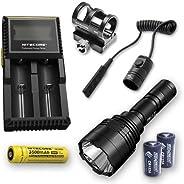 Bundle: Nitecore P30 1000Lm LED Flashlight + 1x Nitecore 1835, RSW1, GM02, D2 Charger, & 2X Free Eco-Sensa