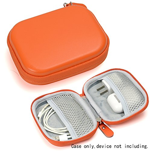 Travel Protection and Storage Case for Airpods Case, Featured Design, mesh Pouches for airpods case, Wall Charger and Cable (Orange)