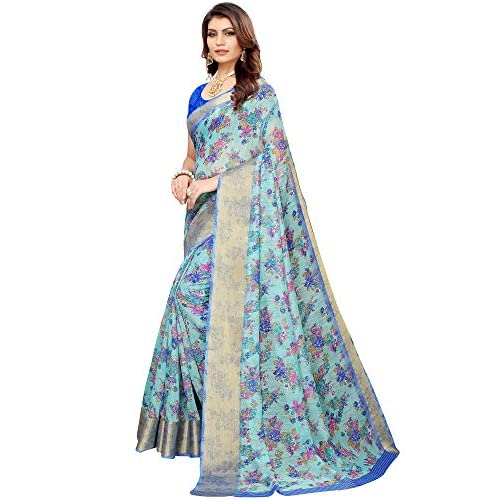 51gbugCIfoL. SS500  - Akhilam Women's Printed Linen Saree with Unstitched Blouse Piece (Green_BGBLT80005)