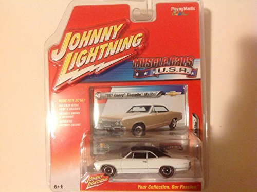 (2016 Johnny Lightning Muscle Cars USA 1967 Chevy Chevelle Malibu White/Black Roof)