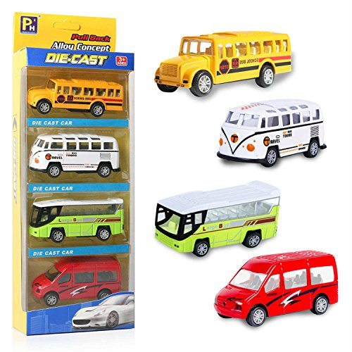 EXERCISE N PLAY Die Cast Metal Toy Cars Set 4 Car Gift Pack, Pull Back Vehicles Cars for Kids(Official Cars) from EXERCISE N PLAY