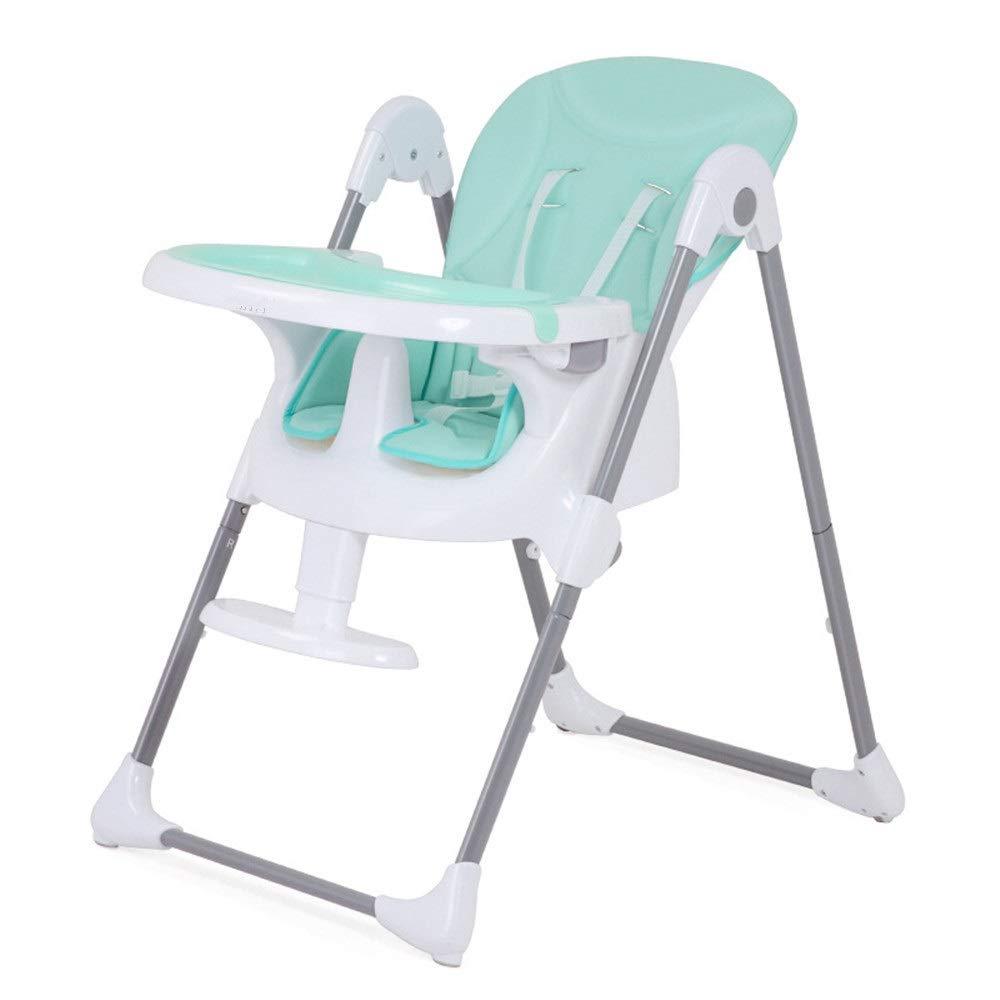 子供用テーブルと椅子 簡単クリーン折りたたみ赤ちゃん食べるハイチェアポータブル給餌スナックブースターシート用座って寝るダイニングテーブル椅子付きトレイ5ポジションシートクッションパッド用幼児男の子女の子 多機能子供用ハイチェア (色 : 緑, サイズ : Free size) Free size 緑 B07TSX769B