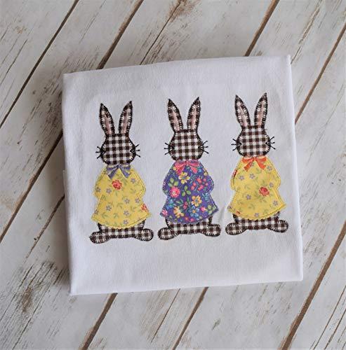 Vintage Bunny Appliqued shirt, Girls Easter Bunny shirt, Toddler Bunny shirt, Personalized Easter Shirt