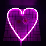 Neon Light,LED Heart Sign Shaped Decor Light,Wall Decor for Chistmas,Birthday party,Kids Room, Living Room, Wedding Party Decor (Purple pink)