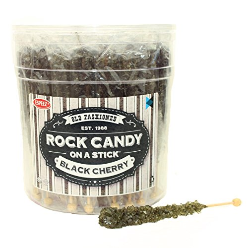 Halloween Candy Buffet - Extra Large Rock Candy Sticks: 48 Black Rock Candy Sticks - Black Cherry - Individually Wrapped for Party Favors, Candy Buffet, Showers, Receptions, Old Fashioned Espeez Bulk Candy on a Stick