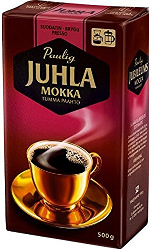 Paulig Juhla Mokka - Dark Roast - Fine Grind - Filter Blend Ground Coffee - Bag 500g (Finland) (8 Bags (Save 30%)) by Paulig Coffee