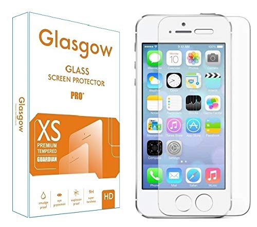 Glasgow Screen Protector for Apple iPhone 5s [Tempered Glass Guard] [Gorilla] Easy Installation [Anti Fingerprint]