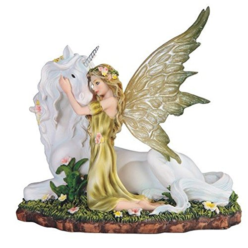 - StealStreet SS-G-91851, 7 Inch Green Fairy Kneeling with White Unicorn Statue Figurine 7