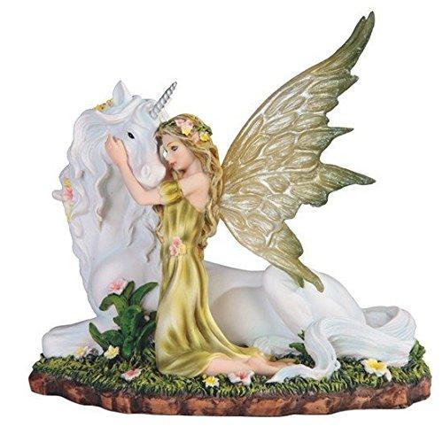 - StealStreet SS-G-91851, 7 Inch Green Fairy Kneeling with White Unicorn Statue Figurine, 7