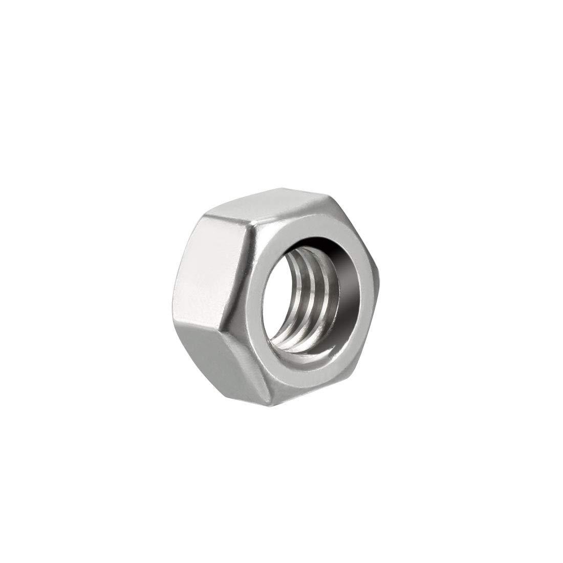 sourcing map 7//16-14 Tuerca hexagonal de 304 acero inoxidable tono Plata 10pcs