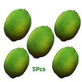 Artificial Limes Lifelike Fake Green Lemon Simulation Fruits For Home Kitchen Decoration 5pcs