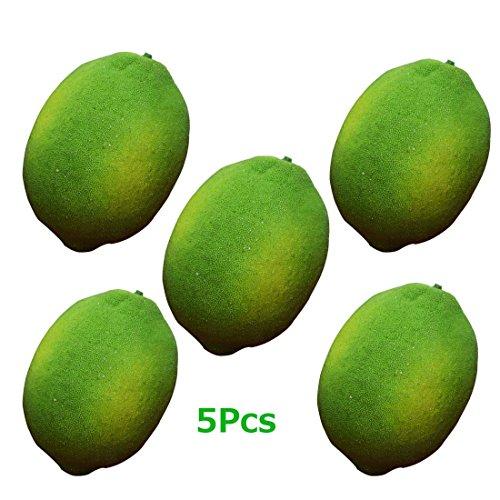 Artificial Limes Lifelike Fake Green Lemon Simulation Fruits For Home Kitchen Decoration 5pcs by Lorigun