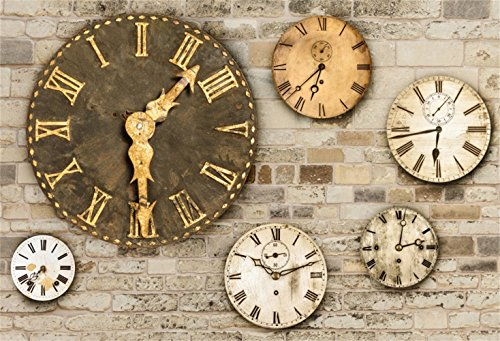 Laeacco Steampunk Theme Backdrop 10x8ft Vinyl Photography Background Ornamental Vintage Clock Dials Grunge Old Brick Wall Artistic Novelty Design Child Baby Adult Portrait Shoot Background