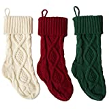 Sexybody Knitted Cable Christmas Decoration Socks Hanging Stockings Decor,Set of 3