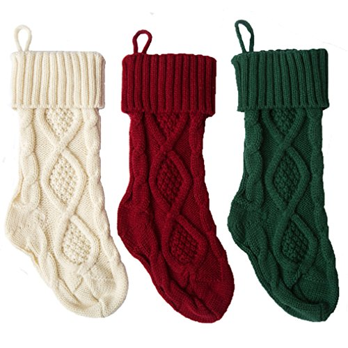 Sexybody Knitted Cable Christmas Decoration Socks Hanging Stockings Decor,Set of 3 by Sexybody (Image #3)