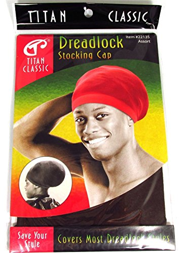 Titan Classic Dreadlock Stocking Cap #22135 [Brown] 2 pieces, Kufi cap, rasta, afro, thick and thin. Spandex, bandana, turban, bonnet, one size fits all, men and women, boys and girls, - Mens Style Types