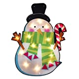 23.75'' Lighted Shimmering Snowman with Candy Cane Christmas Window Silhouette Decoration
