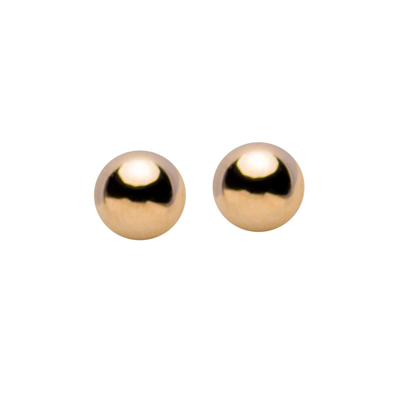 10K Classic and Traditional 6mm Yellow Gold Ball Stud Earrings