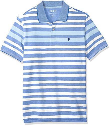 Izod Cotton Shirt - IZOD Men's Advantage Performance Stripe Polo, Olympian Blue, Large