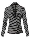 Casual Stylish Patterned Long Sleeves Blazer Jacket Black Stripe Size L