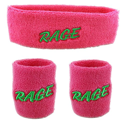 Funny Guy Mugs Rage Unisex Sweatband Set (3-Pack: 1 Headband & 2 Wristbands)