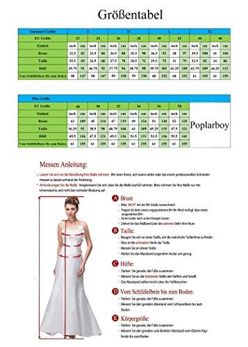 Poplarboy Damen Fashion Traegerlos Cocktailkleid Hi-Lo Chiffon Lang Abendkleider Festkleider Ballkleider Königsblau LWfJV43zLA