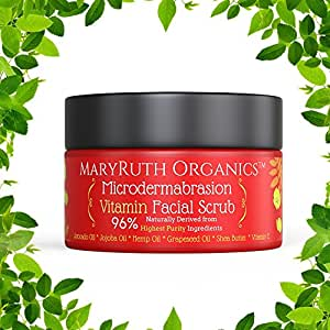 MICRODERMABRASION VITAMIN FACIAL SCRUB by MaryRuth's Unscented Highest Purity Natural Exfoliator Great For Wrinkles, Fine Lines & Mild Acne Avocado Oil, Jojoba Oil, Hemp Oil, Shea Butter No Sugars 4oz
