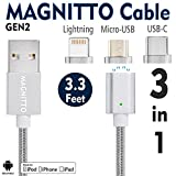 USB Type C Cable,Magnetic Charger Cable MAGNITTO USB to Lightning+USB C+Micro 3 in 1 Multiple 2.4A Quick USB Charging Cable for iPhone 7 7 plus/6 6s Plus/iPad Samsung Galaxy S6 S7 S8 plus Lg V20 Gen2