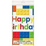 "Building Blocks Birthday Plastic Tablecloth, 84"" x 54"""