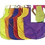 12 Pack Children's Artists Aprons, Polyester Non-woven Assorted Colors