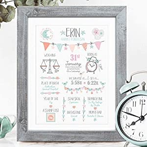The Whistling Wren – Personalised Birth Print for Baby Girl – New Baby Gift – Bespoke Christening or Baptism Present…