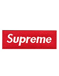 Red Supreme Box Logo DIY Iron On Embroidered Applique Patch