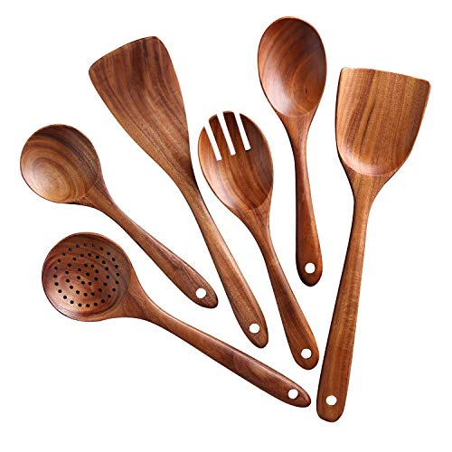 (Wooden Kitchen Utensil Set,Salad spoon spatula, NAYAHOSE 6-Piece Wood Cooking Spoons Tools for Nonstick Cookware,100% handmade made by Natural Teak Wood without any painting)