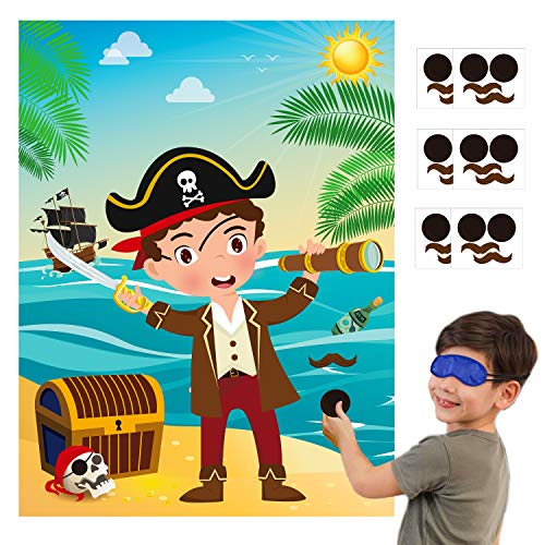 MALLMALL6 Pirate Stickers Party Games for Kids Pin The Eye Patch and Mustache On The Pirates Poster Birthday Party Favors Pin Game Include Blindfold Sticker Caribbean Pirate Party Supplies Decorations